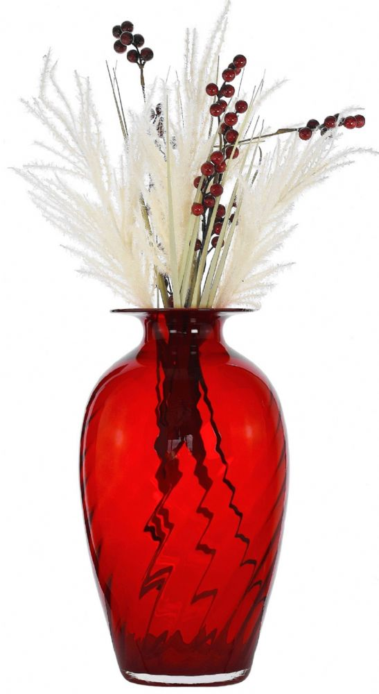 Large Red Pleated Glass Barrel Vase 40cm – Tablescape Ideas by Solavia